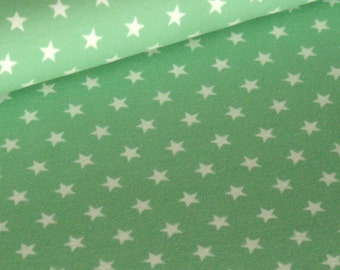 Mint cotton jersey with white stars