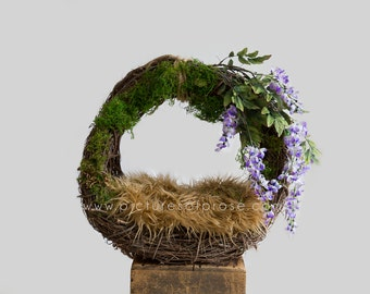 Digital Backdrop for Newborn Photography - Grapevine Wreath with Purple Flowers