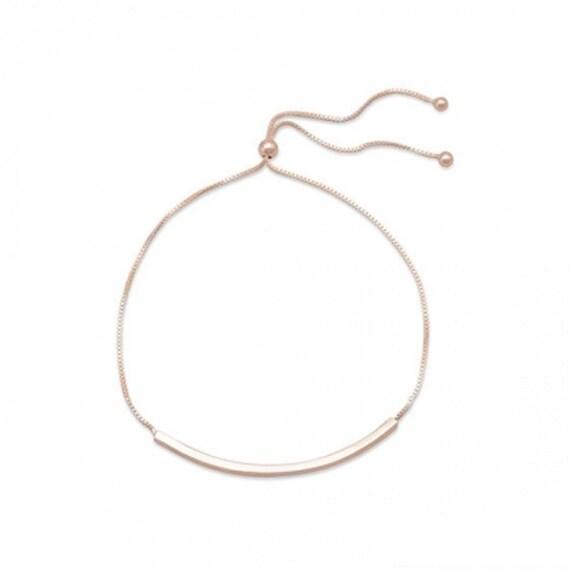 14 Karat Rose Gold Plated Bar Slide Bracelet