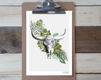 Table block notes with a tropical Buffalo head, photo print, shows