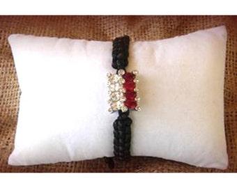 Bracelets Makrame with Satin Black Cord and Rhinestones