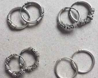 silver tribal balinese hoop earrings 1.5 cm