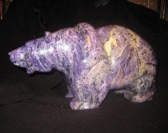 Unique Charoite Bear Sculpture