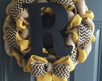 Three Tone Burlap Monogram Wreath