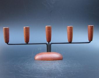Scandinavian design Teak candle holder Danish modern candleholder