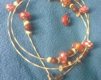 Red glass wrap bracelet