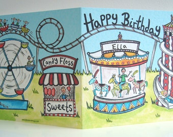 Personalised Funfair Birthday Card, Rollercoaster Card, Merry Go Round Card, Carousel Card, Roller Coaster Card, Fairground Card.
