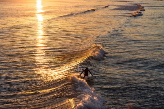 LIQUID GOLD 5. Surfing Print, Bournemouth Bay, Dorset print, Sea Picture, Surf Print, Limited Edition Print