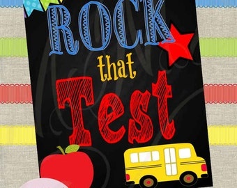 Instant Download! Rock School Test Encouragement Poster 8x10 11x14 Fast Processing Time Apple Bus Owl Teacher