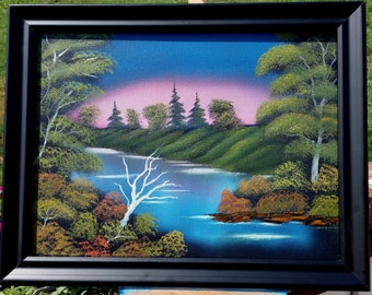 "Original Oil Landscape Painting ""Blue River"" on 12x16 canvas Bob Ross Style"