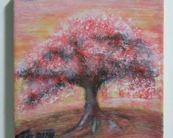 Red tree on a hill acrylic painting on Canvas