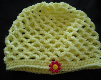Yellow Beanie-style Hat with Dark Pink Flower Button Accent