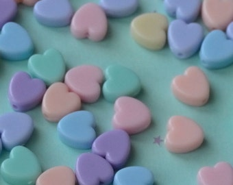 Kawaii Pastel Heart Beads - Rainbow