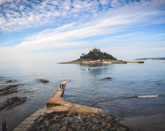 st michael's mount,cornwall,iconic,national trust,castle,blue