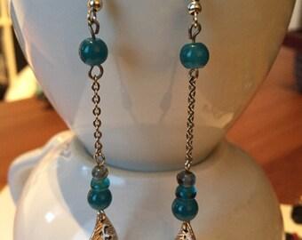 Long blue earrings
