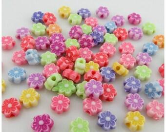 Flower Beads, Mixed Flower Beads, Plastic Flower Beads, 7mm Flower Beads, 7mm Plastic Beads, Childrens Beads, Plastic Beads, Acrylic Beads,
