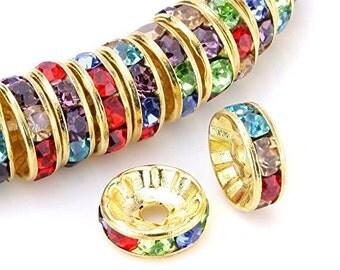 Rainbow Spacer Beads, Rhinestone Beads, Gold Plated Spacer Beads, Gold Plated Rhinestone Beads, Spacer Beads, Rainbow Spacer Beads, 8mm