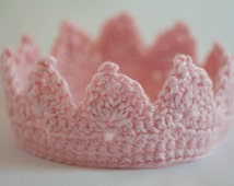 Newborn Crown,  Lil' Princess Crown, 3-6 mos, Handmade Crochet Fashion Headband, Photography Prop