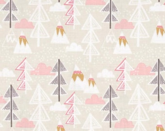 Snow Day Arctic Tree Taupe by Blend Fabrics, Trees, Pink, Forest, winter