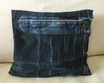 Upcycled Denim clutch with Levi's zipper fly