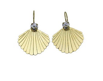 Shell earring with base rivoli 29ss/ 6 mm with swarovski crystal