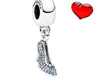 Authentic Pandora charms Disney Cinderella sparkling slipper blue zircon crystal beads