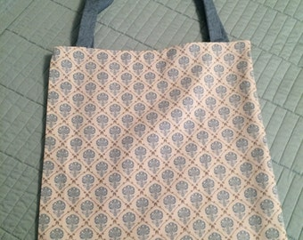 Turquoise Flowers & Beige Tote Bag