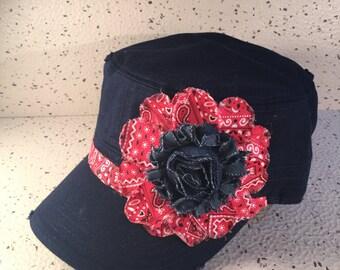 Vintage Navy Blue w/Denim Flower