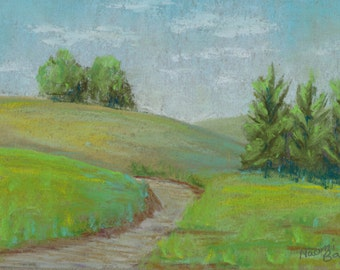 Hills and Trees 4 Original Wall Art Landscape Pastel Painting