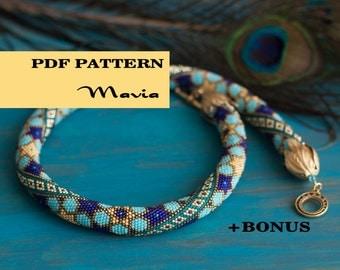 Beaded crochet necklace pattern + Bonus - Seed beads croctet rope - Geometric Moroccan pattern - Oriental star ornament - Ethno jewelry