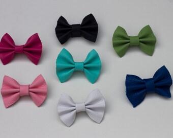 Leather bow headband, leather bow clip, hair clip, baby headband, spring colors, baby headband