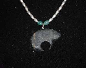 Bear Black Pipestone Pendant Necklace