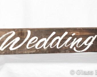 Handmade, Custom Wood Wedding Sign, Rustic Wedding Sign, Directional Wedding Sign, Wood Sign