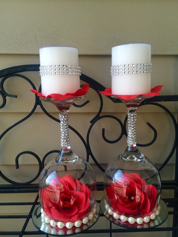 Wedding wine glass candle holder decorations