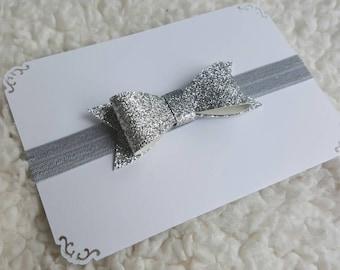 Silver glitter bow headband, gray elastic headband, infant baby toddler girl headband