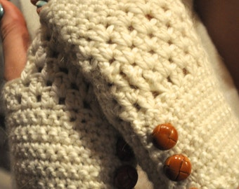 Beige Fingerless Gloves with Leather Buttons