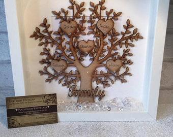 Family tree frame / wooden family tree / wooden tree / box frame family tree / family tree frame