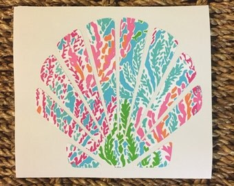 Lilly Pulitzer Inspired Seashell Decal