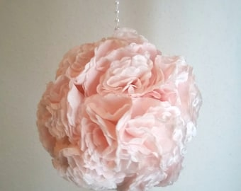 Blush Pink Pomander Ball | Wedding Kissing Ball | Pom Pom Ball Centerpiece | Home Centerpiece