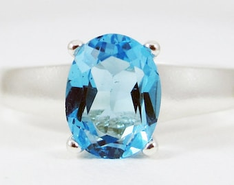 Oval Blue Topaz Ring Sterling Silver