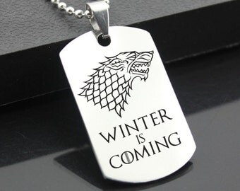 Game of Thrones Winter is Coming Stainless Steel Dog Tag Military Pendant Jewellery Cosplay House Stark Direwolf Medallion Wolf Necklace
