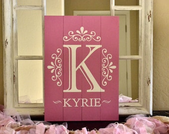 Custom Initial and Name Sign on Pink Painted Wood Pallet for Kids Bedroom