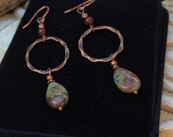 Sale, Gemstone jewelry- gemstone earrings- natural agate- dangle earrings- teardrop earrings- hammered copper