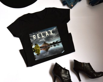 RELAX t shirt - island - holiday shirts - black clothes - womens tee - travel theme - night out - original design by ©When Woman Travels