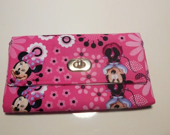 Pink Minnie Mouse Wallet, Minnie Mouse Gifts, Minnie Mouse Wristlet, Minnie Mouse Purse, Pink Minnie