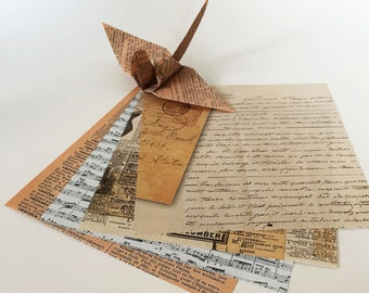 Origami Paper Sheets - Old Paper Pattern - 100 Sheets