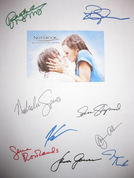 The Notebook Signed Film Movie Script X9 Ryan Gosling Rachel McAdams Gena Rowlands James Garner James Marsden Kevin Connolly Sam Shepard
