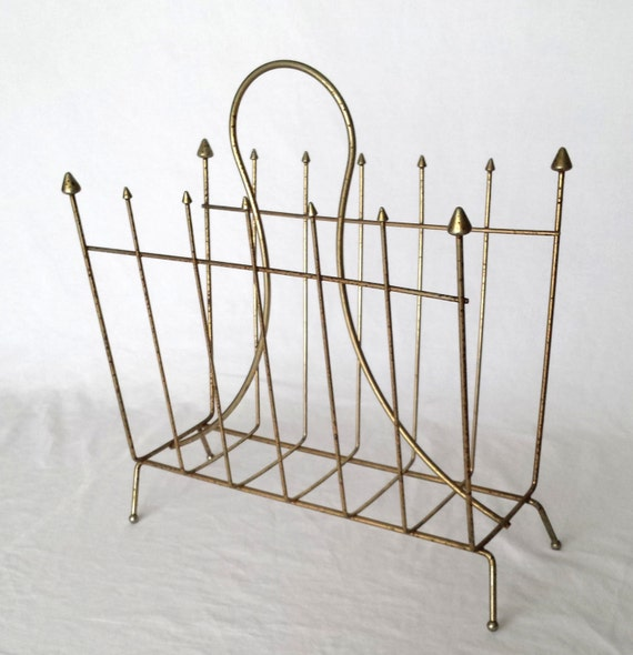 vintage magazine holder antique metal wire magazine rack. Black Bedroom Furniture Sets. Home Design Ideas