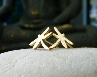 Sweet little dragonfly earrings, dragonfly earrings, gold dragonfly, dainty earrings, gifts for girls