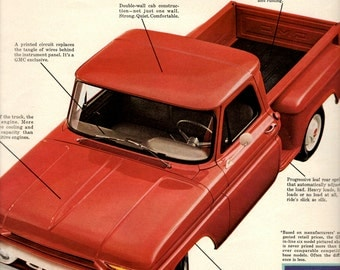 """1960's GMC pickup truck """"Truth is it cost more"""" vintage magazine ad"""